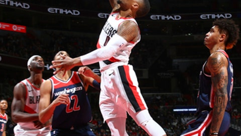 WASHINGTON, DC - NOVEMBER 25: Damian Lillard #0 of the Portland Trail Blazers shoots the ball against the Washington Wizards on November 25, 2017 at Capital One Arena in Washington, DC. NOTE TO USER: User expressly acknowledges and agrees that, by downloading and or using this Photograph, user is consenting to the terms and conditions of the Getty Images License Agreement. Mandatory Copyright Notice: Copyright 2017 NBAE (Photo by Ned Dishman/NBAE via Getty Images)