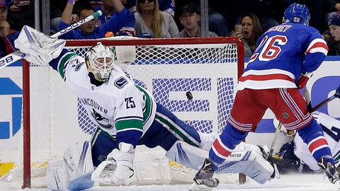 New York Rangers' Jimmy Vesey, right, scores past Vancouver Canucks goalie Jacob Markstrom during the third period of an NHL hockey game, Sunday, Nov. 26, 2017, in New York. (AP Photo/Seth Wenig)