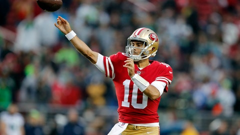 San Francisco 49ers quarterback Jimmy Garoppolo (10) throws against the Seattle Seahawks during the second half of an NFL football game Sunday, Nov. 26, 2017, in Santa Clara, Calif. (AP Photo/John Hefti)