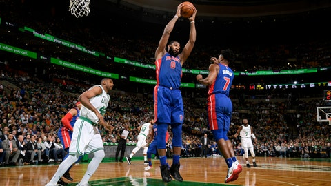 BOSTON, MA - NOVEMBER 27: Andre Drummond #0 of the Detroit Pistons grabs a rebound against the Boston Celtics on November 27, 2017 at the TD Garden in Boston, Massachusetts. NOTE TO USER: User expressly acknowledges and agrees that, by downloading and/or using this photograph, user is consenting to the terms and conditions of the Getty Images License Agreement. Mandatory Copyright Notice: Copyright 2017 NBAE (Photo by Brian Babineau/NBAE via Getty Images)