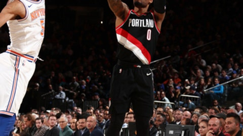 NEW YORK, NY - NOVEMBER 27: Damian Lillard #0 of the Portland Trail Blazers shoots the ball during the game against the New York Knicks on November 27, 2017 at Madison Square Garden in New York, New York. NOTE TO USER: User expressly acknowledges and agrees that, by downloading and or using this Photograph, user is consenting to the terms and conditions of the Getty Images License Agreement. Mandatory Copyright Notice: Copyright 2017 NBAE (Photo by Nathaniel S. Butler/NBAE via Getty Images)
