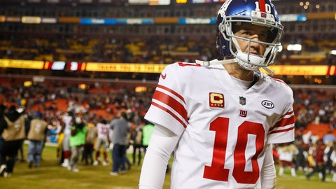 FILE - In this Nov. 23, 2017, file photo, New York Giants quarterback Eli Manning (10) walks off the field after a 2010 loss to the Washington Redskins, in an NFL football game in Landover, Md. The Giants are changing quarterbacks for first time in more than 13 years. Yes, Eli Manning is not going to start. The Giants announced on Tuesday, Nov. 28, 2017, that Geno Smith will start in place of Manning when the Giants (2-9) face the Raiders in Oakland on Sunday. (AP Photo/Patrick Semansky, File)