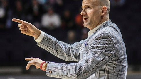 Mississippi coach Andy Kennedy reacts against South Dakota State during an NCAA college basketball game in Oxford, Miss., Tuesday, Nov. 28, 2017. South Dakota State won 99-97 in overtime. (Bruce Newman/The Oxford Eagle via AP)