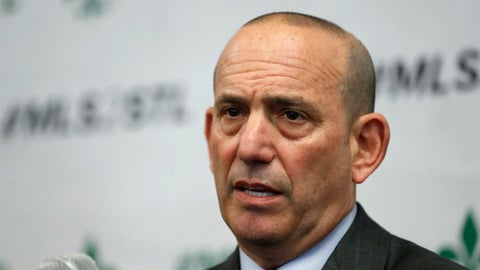 FILE - In this Monday, March 27, 2017 file photo, Major League Soccer commissioner Don Garber speaks during a news conference in St. Louis. There was a time Major League Soccer depended on a shortlist of marquee names to generate excitement about a match. Times are changing. In the 21 years since it was established, the league's respectability around the world has increased and the MLS continues to expand its footprint on the global soccer stage.(AP Photo/Jeff Roberson, File)