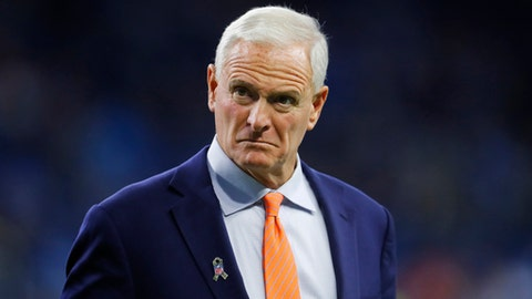 "FILE - In this Nov. 12, 2017, file photo, Cleveland Browns owner Jimmy Haslam watches before an NFL football game against the Detroit Lions in Detroit. Federal agents used a Pilot Flying J employee to try to get Jimmy Haslam to make incriminating comments on the telephone, but court testimony suggests Haslam was aware he was making the call at their behest. Former sales executive Brian Mosher testified Tuesday, Nov. 28, that federal agents had him call Haslam to say ""Jimmy, we've been caught."" Mosher says Haslam responded with: ""I understand there are some folks at your house,"" and then handed off the phone to a lawyer. (AP Photo/Paul Sancya, File)"