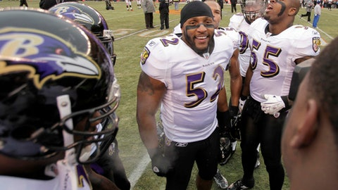 FILE - In this Dec. 26, 2010, file photo, Baltimore Ravens linebacker Ray Lewis (52) inspires his teammates, including linebacker Terrell Suggs (55), before an NFL football game against the Cleveland Browns in Cleveland. Lewis played on many a great defense with the Baltimore Ravens, including the 2000 team that won a Super Bowl and set an NFL record for fewest points allowed in a 16-game season. (AP Photo/Amy Sancetta, File)