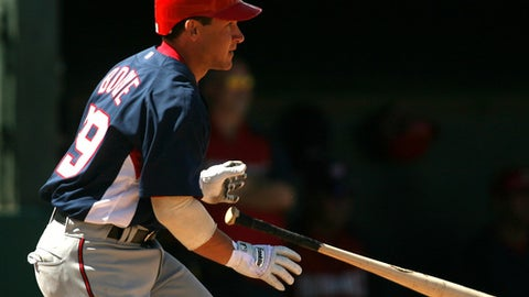 Washington Nationals' Bret Boone doubles during the third inning of a spring training baseball game against the Baltimore Orioles, Sunday, March 2, 2008, in Fort Lauderdale, Fla. (AP Photo/Luis M. Alvarez)