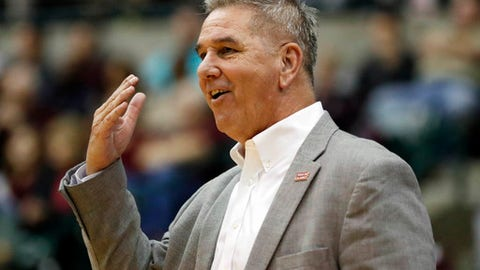 Louisiana Lafayette head coach Garry Brodhead gestures to his players during the first half of an NCAA college basketball game in Jackson, Miss., Wednesday, Nov. 29, 2017. (AP Photo/Rogelio V. Solis)