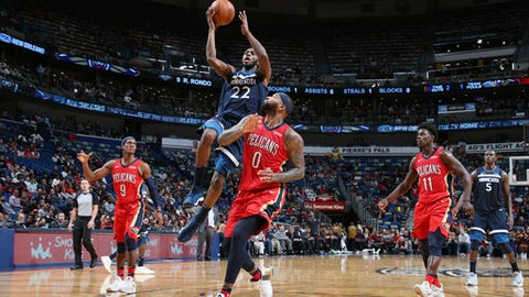 NEW ORLEANS, LA - NOVEMBER 29:  Andrew Wiggins #22 of the Minnesota Timberwolves shoots the ball against the New Orleans Pelicans on November 29, 2017 at Smoothie King Center in New Orleans, Louisiana. NOTE TO USER: User expressly acknowledges and agrees that, by downloading and or using this Photograph, user is consenting to the terms and conditions of the Getty Images License Agreement. Mandatory Copyright Notice: Copyright 2017 NBAE (Photo by Layne Murdoch Jr./NBAE via Getty Images)