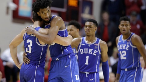 Duke's Marvin Bagley III hugs Grayson Allen (3) late in the second half of an NCAA college basketball game against Indiana, Wednesday, Nov. 29, 2017, in Bloomington, Ind. Duke won 91-81. (AP Photo/Darron Cummings)
