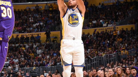 LOS ANGELES, CA - NOVEMBER 29: Stephen Curry #30 of the Golden State Warriors handles the ball against the Los Angeles Lakers on November 29, 2017 at STAPLES Center in Los Angeles, California. NOTE TO USER: User expressly acknowledges and agrees that, by downloading and/or using this Photograph, user is consenting to the terms and conditions of the Getty Images License Agreement. Mandatory Copyright Notice: Copyright 2017 NBAE (Photo by Andrew D. Bernstein/NBAE via Getty Images)