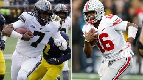 FILE - At left, in a Nov. 25, 2017, file photo, Ohio State quarterback Dwayne Haskins (7) scrambles to the one-yard line during the second half of an NCAA college football game against Michigan, in Ann Arbor, Mich. At right, in a Nov. 4, 2017, file photo, Ohio State quarterback J.T. Barrett runs up field during the second half of an NCAA college football game against Iowa, in Iowa City, Iowa. Whether or not Haskins plays in Saturday's Big Ten Championship game, he's already provided an exhilarating glimpse of Ohio State's likely football future. It happened when starting quarterback J.T. Barrett left the Michigan game with an injury last week. Haskins, with only a few dozen snaps in mop-up duty this season, entered in the third quarter with the Buckeyes trailing 20-14. The redshirt freshman was splendid. (AP Photo/File)