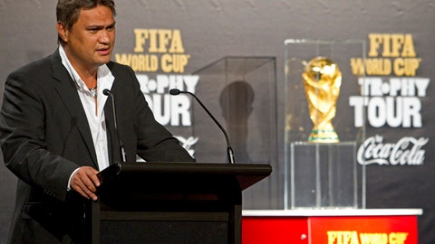FILE - In this April 27, 2010 file photo, Reynald Temarii of Tahiti, the president of Oceania's confederation, speaks at the welcoming ceremony for the FIFA World Cup Trophy on its one-day visit to Auckland, New Zealand. French police have questioned former FIFA vice president Reynald Temarii in their ongoing investigation of suspected corruption in the award of the 2022 World Cup to Qatar. (AP Photo/NZPA, David Rowland, File)