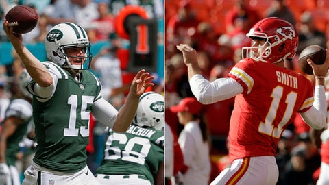 FILE - At left, in an Oct. 22, 2017, file photo, New York Jets quarterback Josh McCown (15) looks to pass during the first half of an NFL football game against the Miami Dolphins in Miami Gardens, Fla. At right, in a Nov. 26, 2017, file photo, Kansas City Chiefs quarterback Alex Smith (11) warms up before an NFL football game against the Buffalo Bills in Kansas City, Mo. The Chiefs play at the Jets on Sunday. (AP Photo/File)
