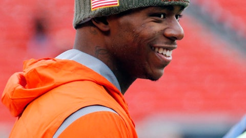 FILE - In this Nov. 19, 2017, file photo, Cleveland Browns' Josh Gordon smiles before an NFL football game between the Jacksonville Jaguars and the Browns, in Cleveland. Gordon is just days away from playing in his first NFL regular-season game in three years, the end of a journey through substance abuse and suspensions for the Browns wide receivers who is out of second chances. (AP Photo/Ron Schwane, File)
