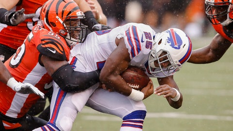 FILE - In this Oct. 8, 2017, file photo, Buffalo Bills running back LeSean McCoy (25) is tackled by Cincinnati Bengals outside linebacker Vontaze Burfict (55) in the first half of an NFL football game, in Cincinnati. The Pittsburgh Steelers play at the Bengals on Monday, Dec. 4. (AP Photo/Gary Landers, File)