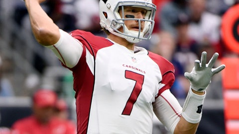 FILE - In this Sunday, Nov. 19, 2017, file photo, Arizona Cardinals quarterback Blaine Gabbert (7) throws a pass against the Houston Texans during the first half of an NFL football game in Houston. The Los Angeles Rams roll into the desert in week 13 looking to solidify their spot atop the NFC West against the Cardinals, who are coming off their best win of the season, 27-24 over Jacksonville. (AP Photo/Eric Christian Smith, File)