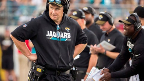 FILE - In this Sunday, Oct. 15, 2017 file photo, Jacksonville Jaguars head coach Doug Marrone paces the sidelines during a timeout call in the second half of an NFL football game against the Los Angeles Rams in Jacksonville, Fla. The Jaguars (7-4) expect to bounce back from their first loss in six weeks when they host the Indianapolis Colts (3-8) on Sunday, Dec. 3, 2017.  (AP Photo/Stephen B. Morton, File)