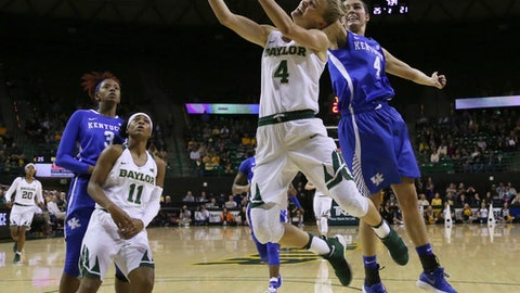 Baylor guard Kristy Wallace (4) drives to the basket past Kentucky guard Maci Morris, right, during the first half of an NCAA college basketball game Thursday, Nov. 30, 2017, in Waco, Texas. (Michael Bancale/Waco Tribune Herald via AP)