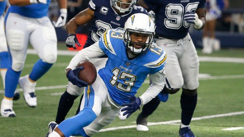 In this Thursday, Nov. 23, 2017 file photo, Los Angeles Chargers wide receiver Keenan Allen (13) sprints forward for a first down after catching a pass as Dallas Cowboys' Orlando Scandrick (32) and DeMarcus Lawrence (90) give chase in the first half of an NFL football game in Arlington, Texas. Allen is rocketing up the NFL receiving charts after his consecutive monster games for Los Angeles, which hosts Cleveland Browns (0-11) on Sunday, Dec. 3, 2017 at StubHub Center. (AP Photo/Michael Ainsworth, File)