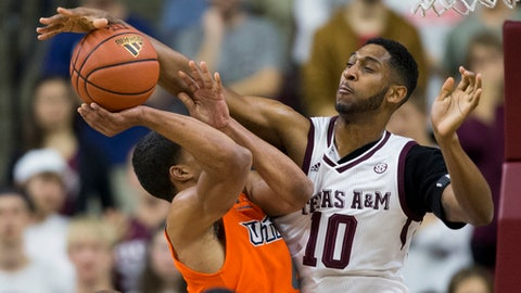 Texas A&M center Tonny Trocha-Morelos (10) blocks a shot by Texas-Rio Grande Valley guard Nick Dixon (4) during the first half of an NCAA college basketball game Thursday, Nov. 30, 2017, in College Station, Texas. (AP Photo/Sam Craft)