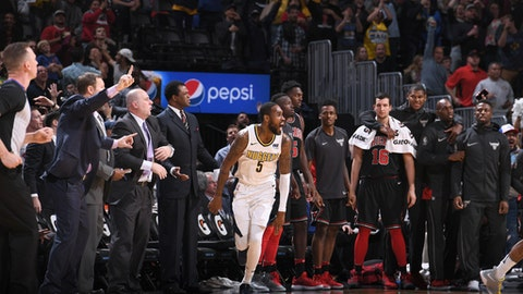 DENVER, CO - NOVEMBER 30: Will Barton #5 of the Denver Nuggets reacts during the game against the Chicago Bulls on November 30, 2017 at the Pepsi Center in Denver, Colorado. NOTE TO USER: User expressly acknowledges and agrees that, by downloading and/or using this Photograph, user is consenting to the terms and conditions of the Getty Images License Agreement. Mandatory Copyright Notice: Copyright 2017 NBAE (Photo by Garrett Ellwood/NBAE via Getty Images)