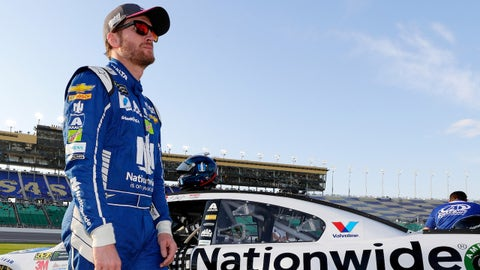 KANSAS CITY, KS - OCTOBER 20:  Dale Earnhardt Jr., driver of the #88 Nationwide Chevrolet, stands on the grid during qualifying for the Monster Energy NASCAR Cup Series Hollywood Casino 400 at Kansas Speedway on October 20, 2017 in Kansas City, Kansas.  (Photo by Jamie Squire/Getty Images)