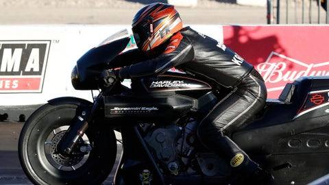 LAS VEGAS, NV - OCTOBER 28: Eddie Krawiec (2 PSM) Harley Davidson V-Rod NHRA Pro Stock Motorcycle sits on the starting line during the 17th annual NHRA Toyota Nationals on October 28, 2017 at The Strip at Las Vegas Motor Speedway in Las Vegas, NV. (Photo by Jeff Speer/Icon Sportswire via Getty Images)