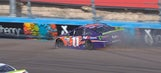 Flat tire from contact with Chase Elliott takes Denny Hamlin out of title contention | 2017 PHOENIX