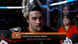 John Gibson on his 50 saves in win over Panthers
