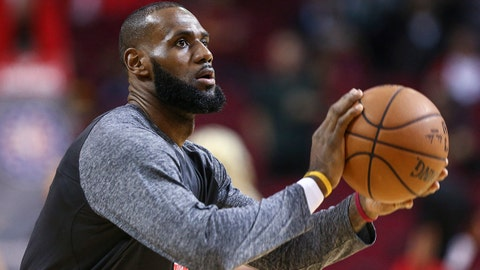 Nov 9, 2017; Houston, TX, USA; Cleveland Cavaliers forward LeBron James (23) warms up before a game against the Houston Rockets at Toyota Center. Mandatory Credit: Troy Taormina-USA TODAY Sports