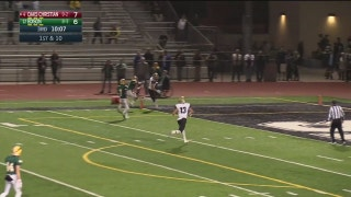 Playoffs, quarterfinals: Bryce Farrell catches a 41 yard bomb for a TD