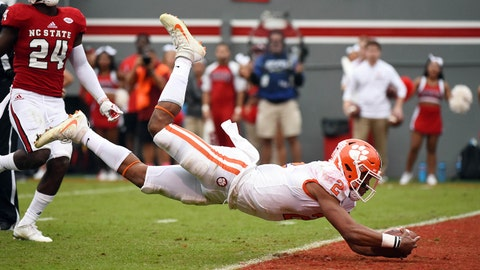 Nov 4, 2017; Raleigh, NC, USA; Clemson Tigers quarterback Kelly Bryant (2) dives for a touchdown during the first half against the North Carolina State Wolfpack at Carter-Finley Stadium. Mandatory Credit: Rob Kinnan-USA TODAY Sports