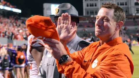 Nov 4, 2017; Raleigh, NC, USA; Clemson Tigers head coach Dabo Swinney reacts after a win against the North Carolina State Wolfpack at Carter-Finley Stadium. Mandatory Credit: Rob Kinnan-USA TODAY Sports