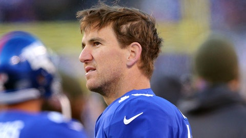 Nov 19, 2017; East Rutherford, NJ, USA; New York Giants quarterback Eli Manning (10) on the sidelines during the fourth quarter against the Kansas City Chiefs at MetLife Stadium. Mandatory Credit: Brad Penner-USA TODAY Sports