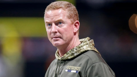 Nov 12, 2017; Atlanta, GA, USA; Dallas Cowboys head coach Jason Garrett on the sideline against the Atlanta Falcons in the second quarter at Mercedes-Benz Stadium. Mandatory Credit: Brett Davis-USA TODAY Sports