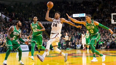 Oct 26, 2017; Milwaukee, WI, USA; Milwaukee Bucks forward Giannis Antetokounmpo (34) drives for the basket during the third quarter against the Boston Celtics at UW-Milwaukee Panther Arena, formerly known as the MECCA. Mandatory Credit: Jeff Hanisch-USA TODAY Sports