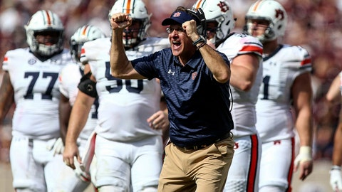 Nov 4, 2017; College Station, TX, USA; Auburn Tigers head coach Gus Malzahn reacts after a play during the fourth quarter against the Texas A&M Aggies at Kyle Field. Mandatory Credit: Troy Taormina-USA TODAY Sports