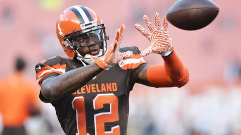 Sep 1, 2016; Cleveland, OH, USA; Cleveland Browns wide receiver Josh Gordon (12) warms up before the game between the Cleveland Browns and the Chicago Bears at FirstEnergy Stadium. Mandatory Credit: Ken Blaze-USA TODAY Sports