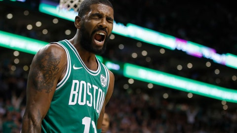 Nov 16, 2017; Boston, MA, USA; Boston Celtics guard Kyrie Irving (11) reacts after a play against the Golden State Warriors in the second half at TD Garden. Mandatory Credit: David Butler II-USA TODAY Sports