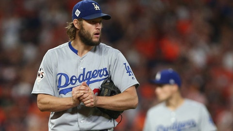 Oct 29, 2017; Houston, TX, USA; Los Angeles Dodgers starting pitcher Clayton Kershaw (22) reacts in the fourth inning against the Houston Astros in game five of the 2017 World Series at Minute Maid Park. Mandatory Credit: Troy Taormina-USA TODAY Sports