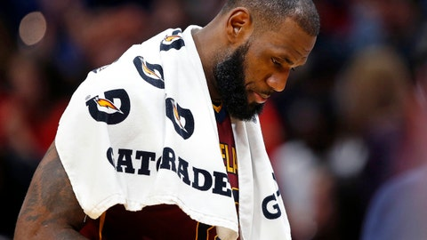 Cleveland Cavaliers forward LeBron James, walks to the bench during a timeout in the second half of an NBA basketball game against the New Orleans Pelicans in New Orleans, Saturday, Oct. 28, 2017. The Pelicans won 123-101. (AP Photo/Gerald Herbert)