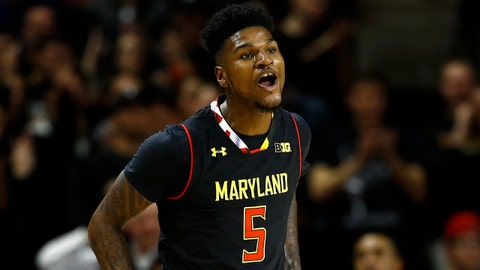 Maryland guard Dion Wiley reacts after making a 3-pointer against Butler during the first half of an NCAA college basketball game in College Park, Md., Wednesday, Nov. 15, 2017. (AP Photo/Patrick Semansky)