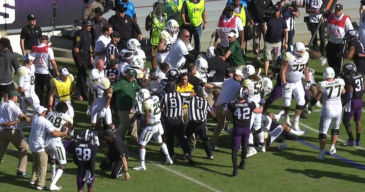 Texas scuffle: Benches clear as a brawl breaks out between TCU and Baylor (VIDEO)