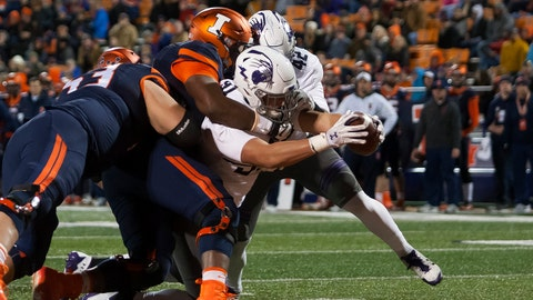 Nov 25, 2017; Champaign, IL, USA; Northwestern Wildcats defensive lineman Sam Miller (91) scores a touchdown after recovering a fumble against the Illinois Fighting Illini during the third quarter at Memorial Stadium. Mandatory Credit: Mike Granse-USA TODAY Sports