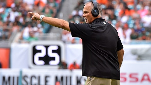 Oct 21, 2017; Miami Gardens, FL, USA; Miami Hurricanes head coach Mark Richt reacts from the sidelines against the Syracuse Orange during the first half at Hard Rock Stadium. Mandatory Credit: Jasen Vinlove-USA TODAY Sports