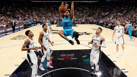 Nov 3, 2017; San Antonio, TX, USA; Charlotte Hornets shooting guard Jeremy Lamb (3) dunks the ball against the San Antonio Spurs during the second half at AT&T Center. Mandatory Credit: Soobum Im-USA TODAY Sports