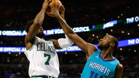 Oct 2, 2017; Boston, MA, USA; Charlotte Hornets forward Michael Kidd-Gilchrist (14) blocks a shot by Boston Celtics forward Jaylen Brown (7) during the second half of the Boston Celtics 94-80 win over the Charlotte Hornets in a preseason game at TD Garden. Mandatory Credit: Winslow Townson-USA TODAY Sports