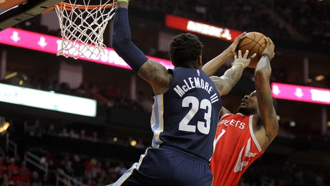 Nov 11, 2017; Houston, TX, USA;  Houston Rockets forward Trevor Ariza (1) is fouled by Memphis Grizzlies guard Ben McLemore (23) while making a layup during the first quarter at Toyota Center. Mandatory Credit: Erik Williams-USA TODAY Sports