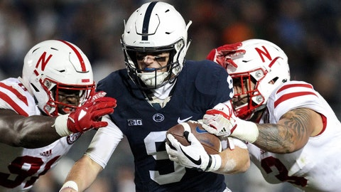 Nov 18, 2017; University Park, PA, USA; Penn State Nittany Lions quarterback Trace McSorley (9) runs the ball into the end zone for a touchdown during the second quarter against the Nebraska Cornhuskers at Beaver Stadium. Mandatory Credit: Matthew O'Haren-USA TODAY Sports